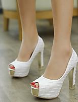 cheap -Women's Shoes PU(Polyurethane) Fall Comfort Heels Stiletto Heel White / Black