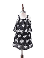 abordables -Enfants / Bébé Fille Noir & Blanc Fleur Sans Manches Robe