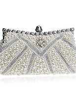 cheap -Women's Bags Pearl / Rhinestones Evening Bag Crystals / Pearls for Wedding / Event / Party White / Black / Beige