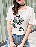 cheap -Women's Basic T-shirt - Animal Embroidered