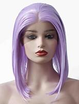 abordables -Perruque Lace Front Synthétique Droit Coupe Carré Doux Résistant à la chaleur Partie intermédiaire cousue Raie Centrale Homme Violet Femme