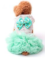 baratos -Cachorros / Gatos / Animais de Estimação Vestidos / Colete Roupas para Cães Voile / Transparente / Laço Verde / Rosa claro Algodão