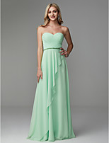 cheap -A-Line Strapless Floor Length Chiffon Prom / Formal Evening Dress with Beading / Pleats by TS Couture®