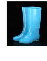 cheap -Women's Shoes PVC Leather / Leather Spring & Summer Rain Boots Boots Block Heel Blue / Pink / Orange / Black