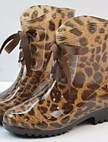 cheap -Women's Shoes PVC Leather Fall Comfort / Rain Boots Boots Flat Heel Black / Leopard