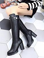 Недорогие -Жен. Обувь Полиуретан Наступила зима Модная обувь Ботинки На толстом каблуке Круглый носок Сапоги до колена Черный