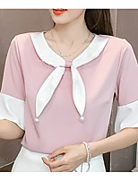 cheap -women's blouse - solid colored / color block round neck