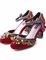 cheap -Women's Shoes Velvet Fall Comfort / Basic Pump Heels Chunky Heel Black / Red / Light Blue