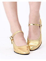 cheap -Women's Modern Shoes Cowhide Heel Performance / Practice Chunky Heel Dance Shoes Gold / Silver