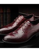 Недорогие -Муж. обувь Наппа Leather / Кожа Весна Удобная обувь Туфли на шнуровке Черный / Вино