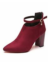 abordables -Femme Chaussures Laine synthétique Automne Confort Bottes Talon Bottier Bottine / Demi Botte Noir / Gris / Bourgogne