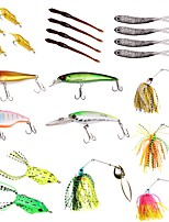 cheap -22pcs pcs Lure kits Spoons Buzzbait & Spinnerbait Soft Bait Hard Bait Plastics Metal Sea Fishing Freshwater Fishing Lure Fishing