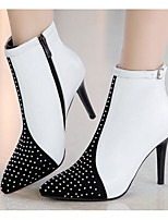 cheap -Women's Shoes Cowhide Nappa Leather Spring Fall Fashion Boots Boots Stiletto Heel Booties / Ankle Boots for Casual White Black