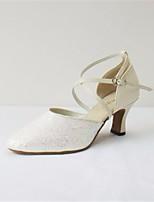 cheap -Women's Modern Shoes Cowhide Heel Performance / Practice Stiletto Heel Dance Shoes Beige