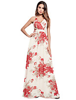 cheap -TS - Dreamy Land Women's beach slim swing dress - floral high waist maxi strap