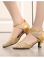 cheap -Women's Modern Shoes Lace Heel Performance Practice Chunky Heel Gold Black Silver