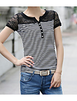 cheap -Women's Vintage / Basic T-shirt - Striped Lace / Patchwork