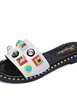 cheap -Women's Shoes PU Spring Summer Comfort Slippers & Flip-Flops Flat Heel Round Toe for White Black