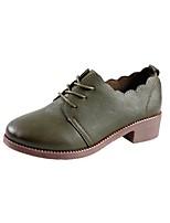 abordables -Femme Chaussures Polyuréthane Printemps Confort Oxfords Talon Bas Noir / Vert