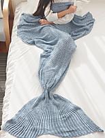 baratos -Velocino de Coral, Fios Tingidos Sólido Poliéster Poliéster / Poliamida cobertores