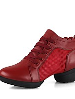 cheap -Women's Modern Shoes Leather / Net Sneaker Training / Performance Low Heel Customizable Dance Shoes White / Black / Red