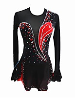 cheap -Figure Skating Dress Women's / Girls' Ice Skating Dress Black Spandex strenchy Professional Skating Wear Sequin Long Sleeve Figure Skating