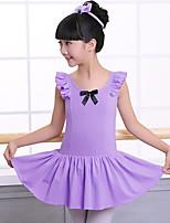 abordables -Ballet Vestidos Chica Entrenamiento / Rendimiento Algodón Lazo de satén / Fruncido Sin Mangas Cintura Media Vestido