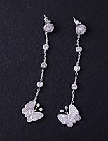 baratos -Mulheres Zircônia Cubica Brincos Curtos / Brincos Compridos - Borboleta Adorável, Fashion Branco Para Casamento / Presente