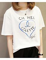 cheap -Women's Plus Size Cotton T-shirt - Solid Colored / Geometric / Letter