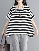 cheap -Women's Cotton Loose T-shirt - Striped