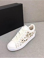 cheap -Women's Shoes Leather Spring Comfort Sneakers Flat Heel for White Black