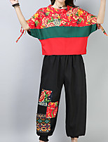 cheap -Women's Vintage Flare Sleeve Blouse - Solid Colored, Pleated Pant