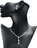 cheap -Women's Cubic Zirconia Jewelry Set - Drop Fashion Include Drop Earrings / Pendant Necklace White For Wedding / Evening Party