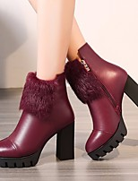 cheap -Women's Shoes Cowhide Winter Fashion Boots Boots Chunky Heel Booties / Ankle Boots for Casual Black Wine