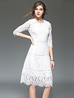 cheap -SHIHUATANG Women's Vintage / Street chic A Line Dress - Solid Colored Lace