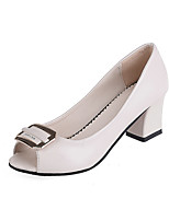 cheap -Women's Shoes Leatherette Summer Basic Pump Heels Chunky Heel Peep Toe Sequin Black / Beige / Pink / Wedding / Party & Evening