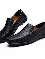 cheap -Men's Shoes Cowhide Spring Comfort Loafers & Slip-Ons Black / Dark Blue / Light Brown