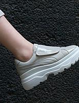 Недорогие -Жен. Обувь Кожа Весна лето Удобная обувь Кеды Микропоры Круглый носок Белый / Серый