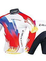 cheap -Men's Short Sleeve Cycling Jersey with Shorts - Red / White Bike Clothing Suits, 3D Pad Polyester / Spandex