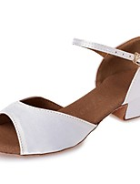 cheap -Girls' Latin Shoes Silk Heel Ribbon Tie Chunky Heel Customizable Dance Shoes White / Leather / Professional