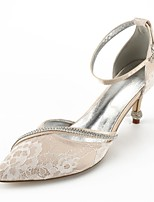 cheap -Women's Shoes Lace Summer Comfort / D'Orsay & Two-Piece / Basic Pump Wedding Shoes Cone Heel Pointed Toe Rhinestone / Bowknot / Pearl