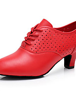 cheap -Women's Modern Shoes Cowhide Oxford / Sneaker Performance / Practice Chunky Heel Dance Shoes Black / Red