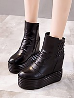 Недорогие -Жен. Обувь Кожа Осень / Зима Удобная обувь / Модная обувь Ботинки Микропоры Сапоги до середины икры Черный