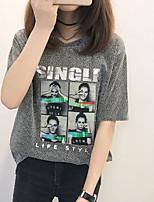 cheap -women's t-shirt - portrait / letter round neck