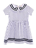 cheap -Kids Girls' Blue & White Striped Short Sleeve Dress