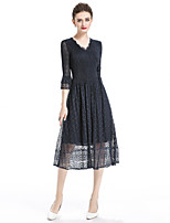 cheap -8CFAMILY Women's Sophisticated Flare Sleeve Chiffon Dress - Solid Colored Lace / Pleated