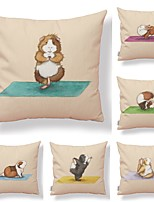 cheap -6 pcs Textile / Cotton / Linen Pillow case, Art Deco / Wildlife / Printing Square Shaped / Accent / Decorative