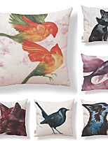 cheap -6 pcs Textile / Cotton / Linen Pillow case, Art Deco / Animal / Printing Geometric / Square Shaped