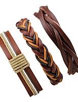 Недорогие -Многослойность / стек Кожаные браслеты - Мода, Многослойный Браслеты Коричневый Назначение Официальные / Для улицы