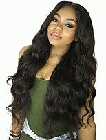 cheap -Remy Human Hair Lace Front Wig Wig Brazilian Hair Wavy Layered Haircut 130% Density With Baby Hair / Natural Hairline Black Women's Short / Long / Mid Length Human Hair Lace Wig